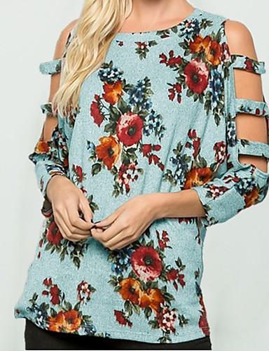 billige Topper til damer-T-skjorte Dame - Blomstret / 3D, Lapper / Trykt mønster Grunnleggende Rosa