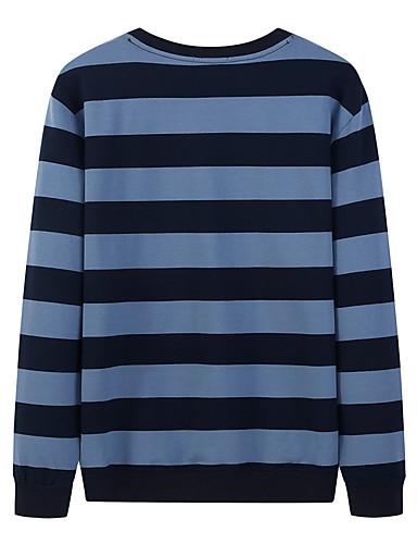 voordelige Heren T-shirts & tanktops-Heren Standaard / Street chic Print T-shirt Gestreept Zwart & Wit Zwart