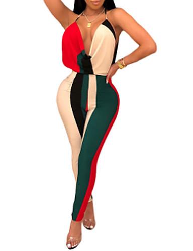 abordables Hauts pour Femmes-Femme Basique Rose Claire Jaune Rouge Combinaison-pantalon, Bloc de Couleur Dos Nu S M L