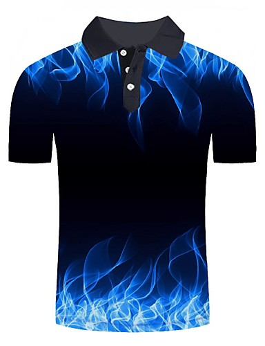 cheap Pre Sale-Men's Daily Going out Basic / Street chic Polo - Color Block / 3D / Graphic Print Blue