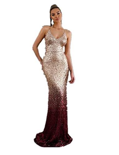 voordelige Maxi-jurken-Dames Verfijnd Elegant Trompet / zeemeermin Jurk - Effen Kleurenblok, Pailletten Patchwork Maxi