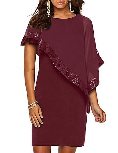 hesapli Kadın Elbiseleri-Kadın's Büyük Bedenler Temel İnce Kılıf Elbise - Solid, Payetler Diz üstü