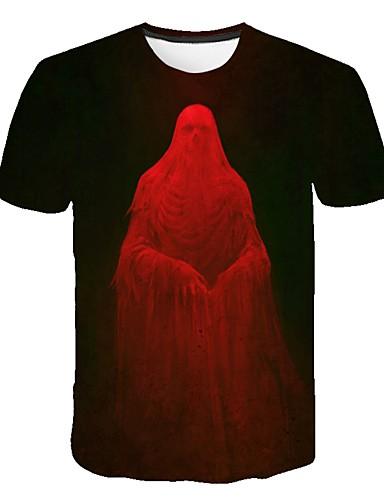 Erkek Tişört Desen, Zıt Renkli / 3D / Kuru Kafalar Sokak Şıklığı / Abartılı YAKUT