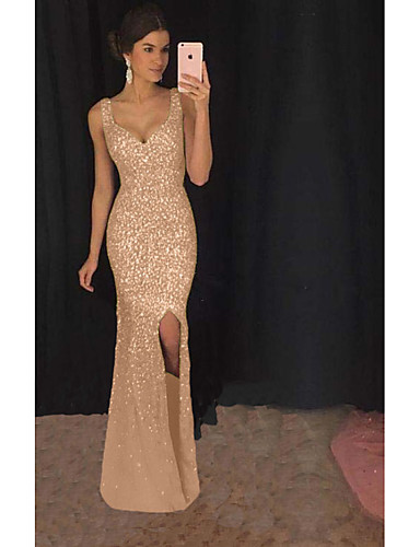 cheap Especially On Halloween-Women's Maxi Swing Dress - Solid Colored Strap Blushing Pink Gold S M L XL