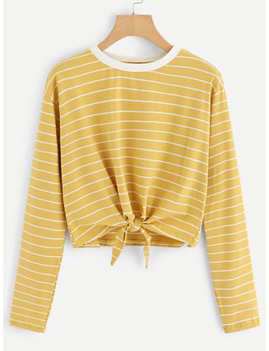 billige Dametopper-T-skjorte Dame - Stripet, Blondér Grunnleggende Gul