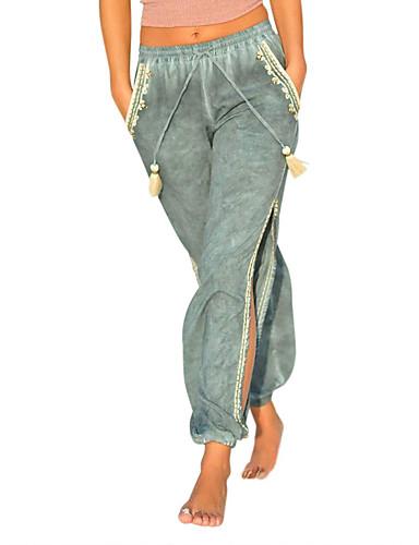 abordables Pantalons Femme-Femme Bohème Sarouel Pantalon - Couleur Pleine / Tartan Bleu & blanc, Découpé / Fendu Noir Vin Bleu Roi S M L