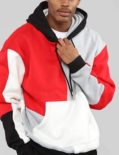 billige Hættetrøjer og sweatshirts til herrer-Herre Afslappet Hætte Hattetrøje - Farveblok