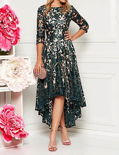 billige Kjoler-Dame Elegant A-linje Kjole - Blomstret, Paljetter Asymetrisk kant Asymmetrisk / Blonder