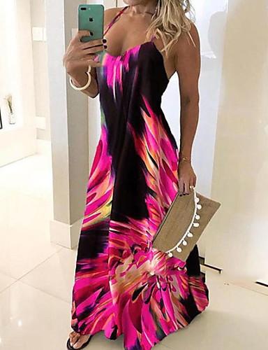 povoljno Nove haljine-Žene Slim Korice Haljina Geometrijski oblici S naramenicama Maxi