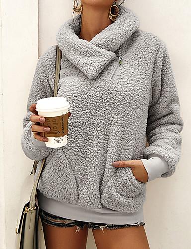 abordables Hauts pour Femmes-Femme Basique Sweatshirt Couleur Pleine