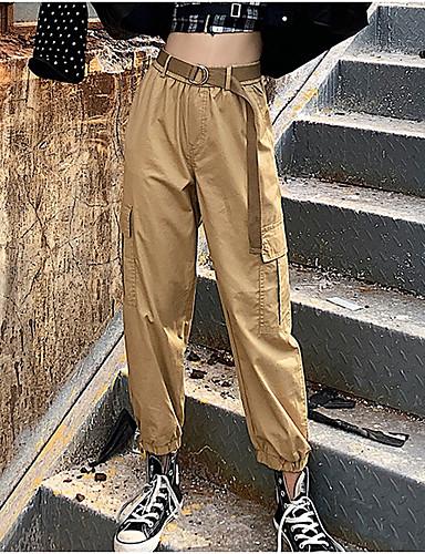 billige Bukser og skjørt til damer-Dame Grunnleggende Lastebukser Bukser - Ensfarget Høy Midje Svart Militærgrønn Kakifarget S M L