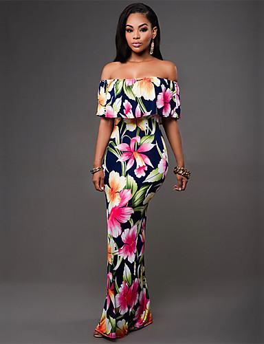 voordelige Maxi-jurken-Dames Standaard Schede Jurk - Bloemen, Print Maxi