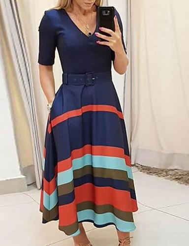 お買い得  レディースドレス-女性用 シフト ドレス ストライプ ミディ