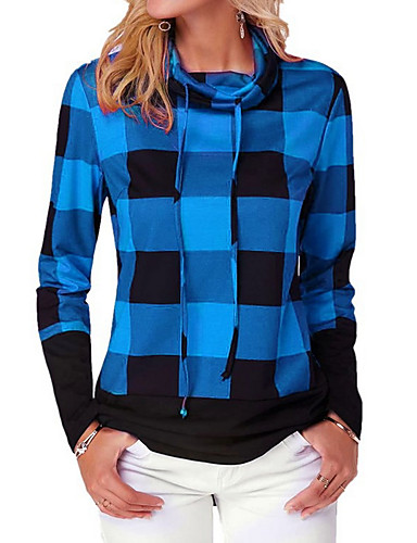 billige Dametopper-Skjorte Dame - Rutet Grunnleggende Blå