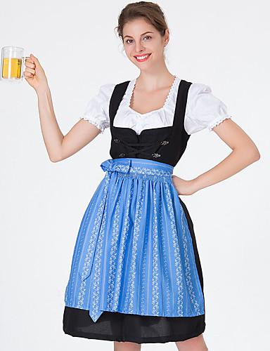 hesapli Oktoberfest-Kasım Festivali üstü dar altı geniş elbise Trachtenkleider Kadın's Elbise Bavyera Kostüm Havuz Yonca YAKUT