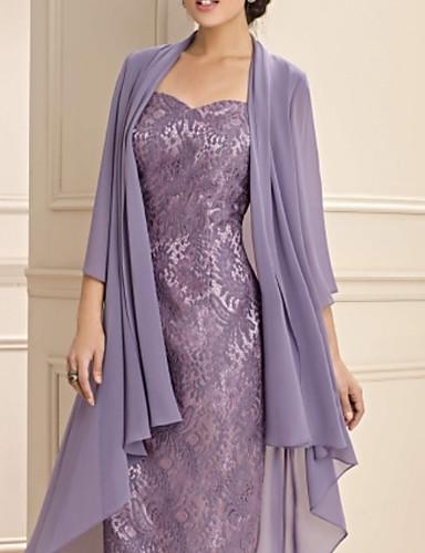 voordelige Wrap Dresses-A-lijn Sweetheart Tot de knie Chiffon / Kant Bruidsmoederjurken met Ruches door LAN TING Express / Wrap inbegrepen