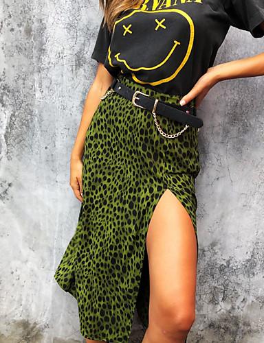 billige Skjørt-Dame Chic & Moderne A-linje Skjørt Leopard Grønn S M L / Delt
