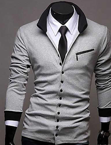 voordelige Herenoverhemden-Heren Overhemd Effen Zwart