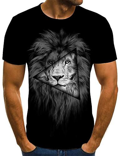 voordelige Uitverkoop-Heren Street chic Geplooid / Print T-shirt 3D / dier / Cartoon Leeuw Zwart