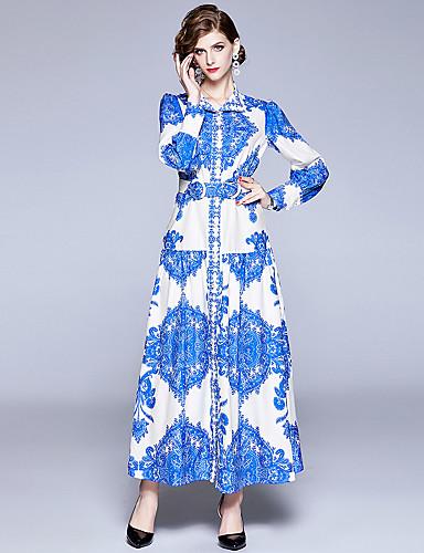 abordables Robes Femme-Femme Elégant Maxi Trapèze Robe - Lacet Imprimé, Tartan Bleu M L XL Manches Longues
