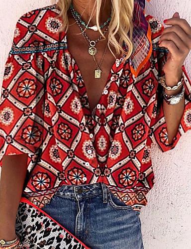 billige Dametopper-V-hals Skjorte Dame - Geometrisk Rød