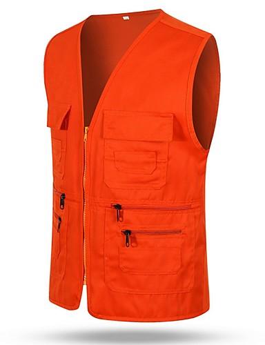 voordelige Herenjacks & jassen-Heren Dagelijks Herfst winter Normaal Vest, Effen V-hals Mouwloos Polyester Zwart / Lichtgrijs / Oranje