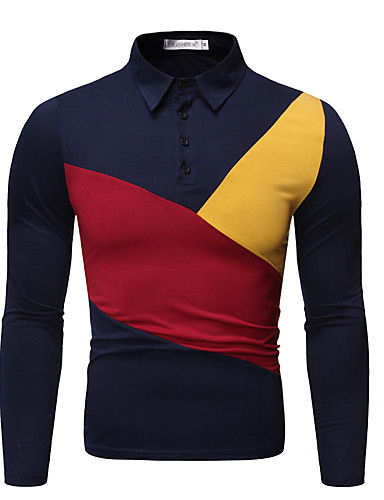 voordelige Herenpolo's-Heren Standaard Polo Geometrisch Zwart