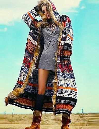 abordables Manteaux & Vestes Femme-Femme Quotidien Automne hiver Normal Manteau, Géométrique Capuche Manches Longues Polyester Arc-en-ciel