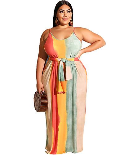 voordelige Grote maten jurken-Dames Boho Elegant Recht Wijd uitlopend Jurk - Regenboog, Blote rug Maxi