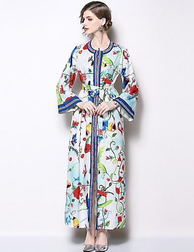 voordelige Maxi-jurken-Dames Vintage Elegant A-lijn Jurk - Bloemen, Split Print Maxi