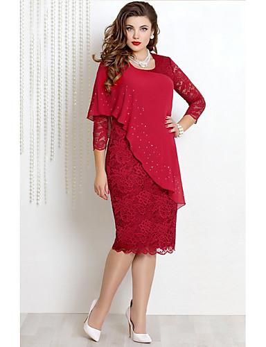 abordables Robes Femme-Femme Mi-long Gaine Robe Couleur Pleine Vin Fuchsia Rouge S M L Manches 3/4