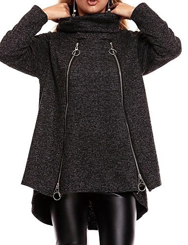 abordables Manteaux & Vestes Femme-Femme Quotidien Automne hiver Normal Veste, Couleur Pleine Col Roulé Manches Longues Polyester Noir / Marron