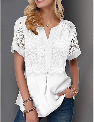 billige Forhåndsalg-Bluse Dame - Ensfarget Grunnleggende Hvit