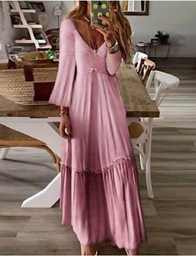 abordables Robes Femme-Femme Asymétrique Trapèze Robe Couleur Pleine Bleu clair Rose Claire Vert S M L Manches Longues
