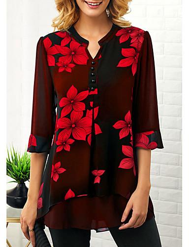 billige Dametopper-Skjorte Dame - Blomstret, Trykt mønster Grunnleggende Rød