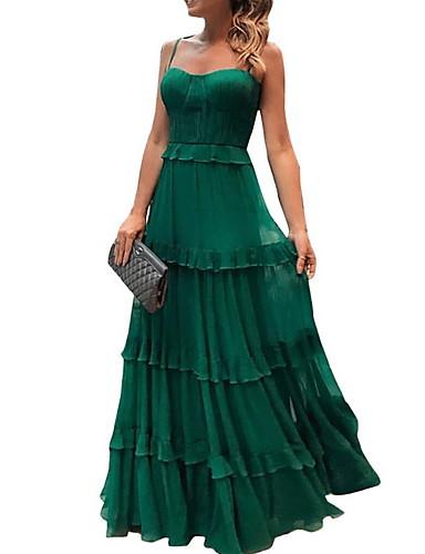 voordelige Maxi-jurken-Dames Elegant A-lijn Jurk - Effen, Pailletten Bandje Maxi