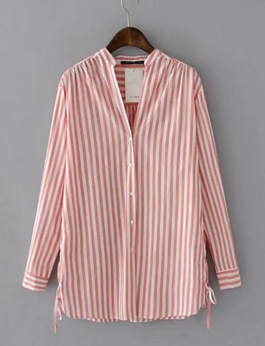 billige Topper til damer-Skjorte Dame - Stripet Grunnleggende Blå