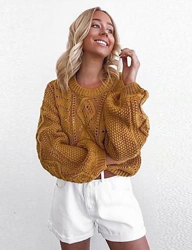 Žene Jednobojni Dugih rukava Pullover, Okrugli izrez Obala / Žutomrk One-Size