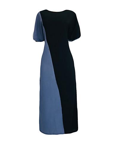 voordelige Maxi-jurken-Dames Standaard A-lijn Jurk - Kleurenblok, Patchwork Maxi Zwart