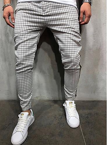 Men's Military Chinos / Sweatpants Pants - Plaid / Checkered Dusty Blue, Sporty / Floral White Blushing Pink Light Green US32 / UK32 / EU40 US34 / UK34 / EU42 US36 / UK36 / EU44