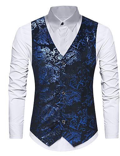 voordelige Herenblazers & kostuums-Heren Vest, Effen Opstaand Polyester Zwart / blauw
