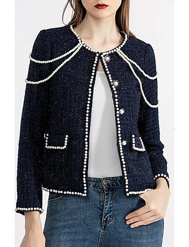abordables Manteaux & Vestes Femme-Femme Quotidien Automne Normal Veste, Couleur Pleine Col Arrondi Manches Longues Polyester Bleu Marine