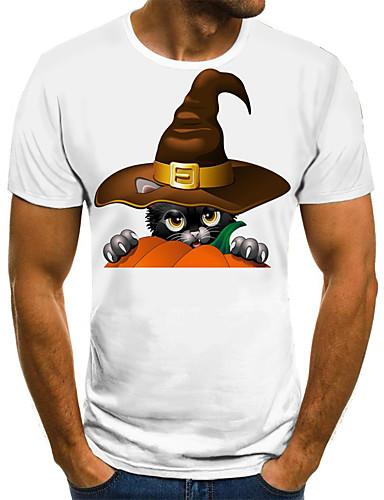 cheap Men's Clothing-Men's Weekend Street chic T-shirt - Geometric / 3D / Cartoon Pleated / Print White