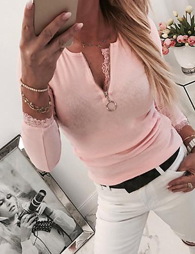 billige Dametopper-Bluse Dame - Ensfarget Grunnleggende Rosa