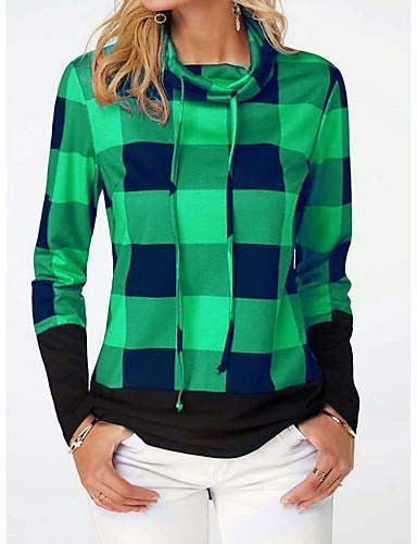 billige Dametopper-T-skjorte Dame - Ruter, Lapper Gatemote Svart & Rød Blå