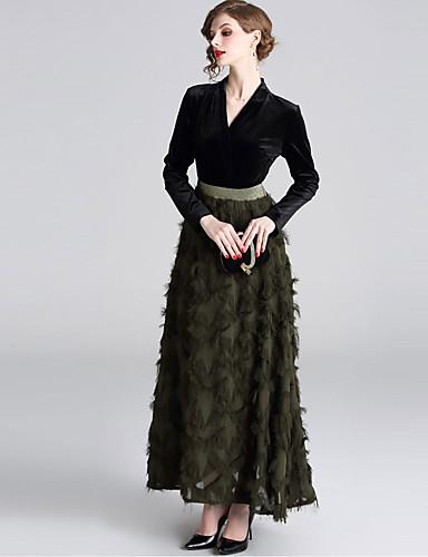 voordelige Maxi-jurken-Dames Standaard Elegant A-lijn Schede Jurk - Effen Kleurenblok, Kwastje Patchwork Midi