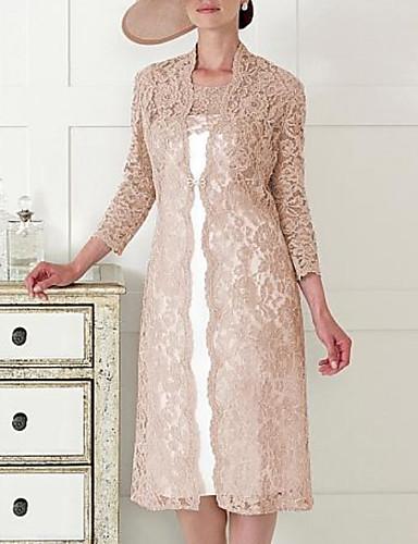 abordables Robes Femme-Femme Elégant Midi Deux Pièces Robe - Dentelle, Géométrique Kaki M L XL Manches 3/4