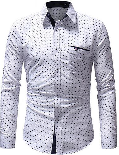 voordelige Herenoverhemden-Heren Overhemd Polka dot Wit