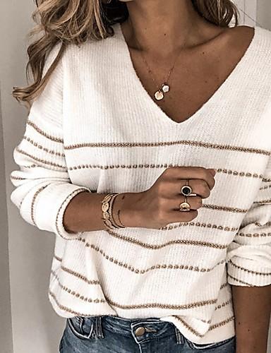 billige Dametopper-Dame Stripet Langermet Pullover, V-hals Hvit / Rød S / M / L