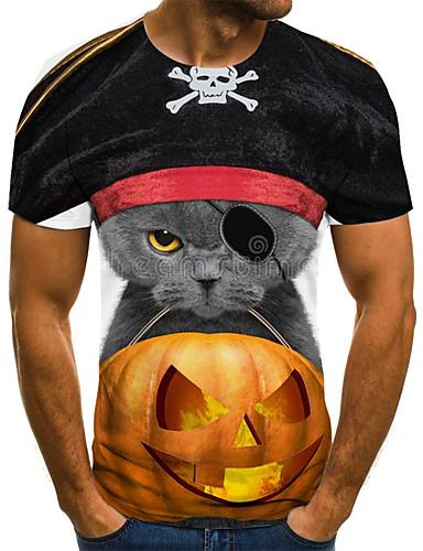 voordelige Uitverkoop-Heren Street chic Geplooid / Print T-shirt Geometrisch / 3D / Cartoon Zwart